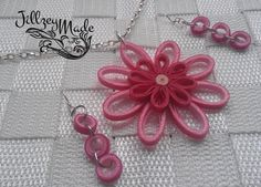 Paper Quilled Filigree Pendant Earring Set by JillzeyMade on Etsy, $25.00