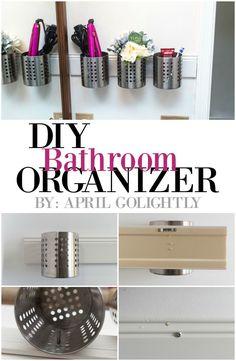 DIY Bathroom organizer with ikea flatware caddy ORDNING #OpticSmiles #CollectiveBias #sp