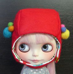 Blythe hat red by Cactusshop on Etsy