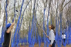 Volunteers assist artist, Konstantin Dimopoulos create The Blue Trees environmental art installation in Houston, TX