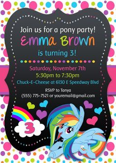 my little pony invitations Google Search Vanna party Pinterest