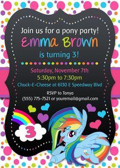 MY LITTLE PONY Birthday party invitations personalized custom Rainbow Dash MLP #Mine