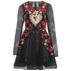 Dolce & Gabbana Embellished Cotton-Blend Mini Dress (32.740 HRK) ❤ liked on Polyvore featuring dresses, vestidos, black, cocktail/gowns, holiday dresses, mini dress, short dresses, short black dresses and black evening dresses