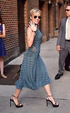 Scarlett Johansson from The Big Picture: Today's Hot Photos  All smiles! The actress waves to her fans while wearing a Proenza Schouler dress in New York City.