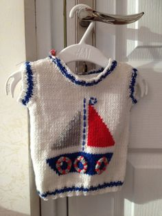Hand knit baby sweater with sailing boat/ Sailor Baby Sweater Baby Boy Knitting Patterns, Baby Sweater Knitting Pattern, Knit Baby Sweaters, Knitting For Kids, Crochet For Kids, Knit Patterns, Baby Knitting, Knitting Needles, Baby Boy Vest