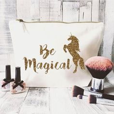 Glitter Unicorn makeup bag- Cosmetic bag- Unique gift- Be Magical- large cosmetic bag- Inspirational quote- Personalised bag-Quote bag by JustBeBohoCollective on Etsy https://www.etsy.com/listing/488541735/glitter-unicorn-makeup-bag-cosmetic-bag