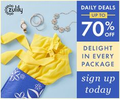 Zulily – Daily Deals Up To 70% Off  Sign up with Zulily and receive e-mails letting you know about daily sale events for moms, babies, and kids. New sales every morning for you, your family, & your home. You'll discover unique brands and products—the things that help you express your personal style. And …