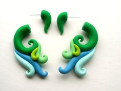 Forest Nymph Fake Gauge Earring  Green  Wing  by deceptions, $24.00