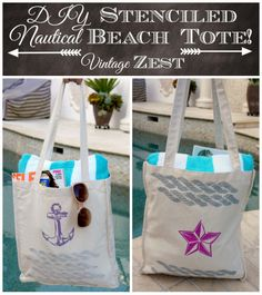 #DIY Beach Tote | Nautical Inspired Beach Tote Tutorial | Created with Ed Roth's Stencil 1 | Supplies available at Jo-Ann Fabric and Craft Stores
