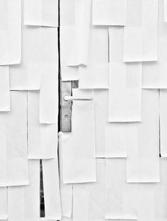 door + stainless steel + paper + layered
