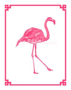 Palm Beach Chic Flamingo Giclee 11x14 by thepinkpagoda on Etsy, $35.00