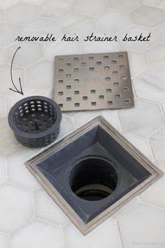 This shower drain has a removable hair strainer basket - such a smart master bathroom remodel idea! Shower Drain, Shower Niche, Shower Floor, Bathroom Shower Tiles, Master Shower Tile, Shower Step, Bathroom Drain, Bathtub Tile, White Bathroom