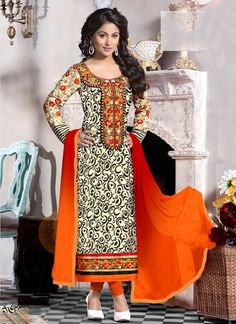 Add a young burst of shade for the wardrobe with this cream georgette designer straight salwar suit. This wonderful attire is displaying some great embroidery done with embroidered, lace and resham wo...