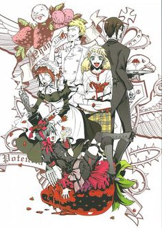 SQUARE ENIX Estudio Kuroshitsuji Anime Black Butler Artworks 1 Libro de Arte Bardroy Personaje Ciel Phantomhive Personaje Finnian Personaje Maylene Personaje Sebastian Michaelis Personaje Tanaka Personaje Conde Aristócrata Bow Tie Mayordomo