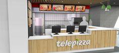 Diseño de nueva imagen Telepizza Internacional, locales Foodcourt.
