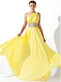 Vestidos princesa/ Formato A Um ombro Longos De chiffon Vestido de baile com Pregueado Bordado