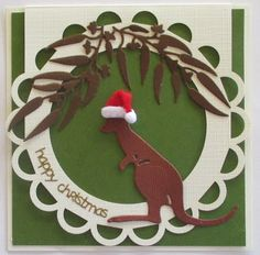 Another Christmas card to share today using the Ultimate Crafts Australiana Collection. Today I have used a laser cut card and the Kanga. Christmas Cards To Make, All Things Christmas, Handmade Christmas, Holiday Cards, Christmas Wreaths, Christmas Ornaments, Christmas Tree, Australian Christmas Cards, Aussie Christmas