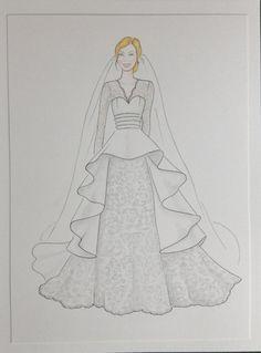 Custom lace wedding dress sketch bride with veil by Zoia on Etsy, $65.00