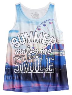 Graphic High Neck Tank | Justice