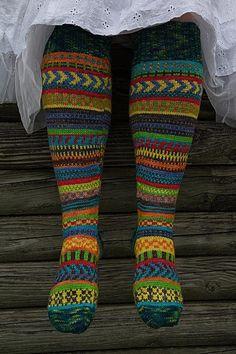 Rock the Party knee socks Knitting pattern by Trisha Paetsch Crochet Socks, Knitting Socks, Hand Knitting, Knit Crochet, Knitting Patterns, Stocking Pattern, Fair Isle Knitting, Knee Socks, Beanies