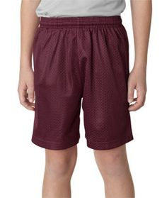 A4 Youth 6 Lined Tricot Mesh Shorts Nb5301 Maroon