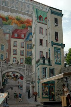 Mural in Old Québec (le vieux Québec), in Quebec City: This mural depicts what the old quarter looked like in the 17th century / Jane McLean
