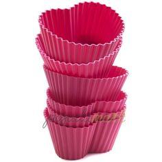 Набор форм для маффинов, форма сердца, 6 шт., силикон, розовый, серия Wonder Cakes, SILIKOMART