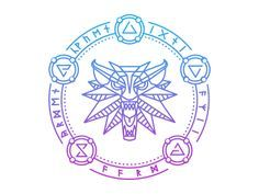 Witcher 3 Wild Hunt wolf symbol with the five signs: Axii, Igni, Quen, Aard and Yrden