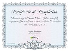 Completion Certificate for How to Create an Awesome Online Course #Grumo #Udemy
