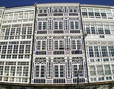 Ciudad de Cristal, A Coruna, Galicia, Spain There is a street in A Coruna that is lined in buildings like this. Spain Travel Guide, Places Ive Been, Beautiful Places, Around The Worlds, Europe, Architecture, Camping, City, Celtic