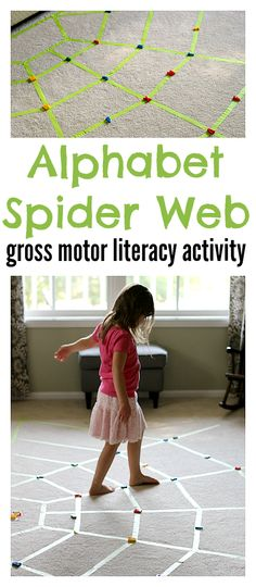 Alphabet Spider Web - gather the letters stuck in the web that you need to spell the word in the middle of the web. Don't fall off! Great for spelling or for simple letter recognition.