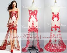 2014 Prom Dress Lace Applique Red Prom Dress Sexy by CassieFashion, $179.00