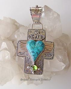 Must LOVE Cats Heart with Wings Cross Pendant