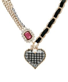 Betsey Johnson Gingham Heart Necklace