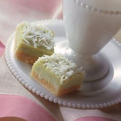 Creamy Lime-Coconut Bars - wonderful springtime bar. Very rich, so might only want to make 1/2 batch or cut them small.