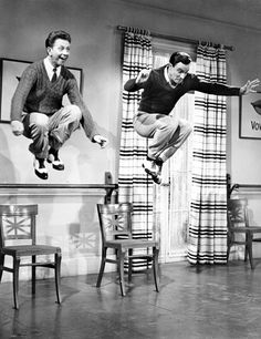 "Gene Kelly and Donald O'Connor filming ""Moses Supposes."""