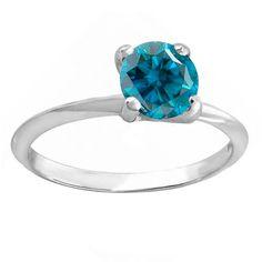 Elora 14k White Gold 1-carat TDW Round Blue Diamond Women's Bridal Engagement Solitaire Ring (Size 9.5,White Gold)