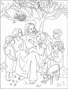 Let the Little Children Come to Me – Free Coloring Pages: Bible Make your world more colorful with free printable coloring pages from italks. Our free coloring pages for adults and kids. Jesus Coloring Pages, Coloring Book Pages, Coloring Pages For Kids, Colouring Sheets, Preschool Bible, Bible Activities, Sunday School Coloring Pages, Bible Story Crafts, Bible Stories