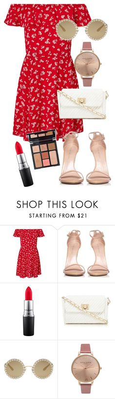 """Sukmer Dress"" by clarissa25xo ❤ liked on Polyvore featuring Miss Selfridge, Stuart Weitzman, MAC Cosmetics, Charlotte Tilbury, Red Herring, Dolce&Gabbana and Olivia Burton"