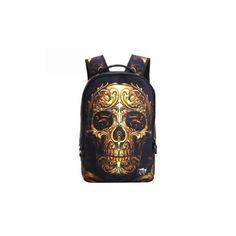 Unisex Outdoor Travel Skull Pattern Polyester Multifunctional... ($19) ❤ liked on Polyvore featuring bags, backpacks, bags men's bags backpacks, gold, travel backpack, zip shoulder bag, white shoulder bag, shoulder bag and grey backpack