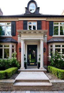 Georgian architecture, limestone portico, copper clad roof d Portico Entry, Home Modern, Georgian Architecture, House Trim, Villa, Front Entrances, Window Styles, Facade House, Classic House