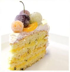 Sponge Cake with Passion Fruit Curd Filling & Meringue - own sponge cake, passion fruit pulp, egg whites