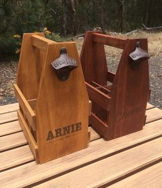 FATHERS DAY ORDERS ACCEPTED ONLY UNTIL AUGUST 12 -----  This Rustic, Handmade Wooden 6 pack Beer Caddy is perfect as a Fathers Day Gift!  Personalise with his name and 1 line of extra info: Here are 2 examples:  JOHN est. 1969  or  JOHNS Brewery  Please include your personalisation request in the notes at check out.  Made from solid pine, this beer carrier makes a great gift, with all joints glued before nailing for added strength and durability.  Includes a rustic style bottle opener on…