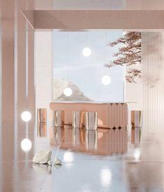 3D rendering of modern lobby with pink table and metallic stools by artist Alexis Christodoulou aka @teaaalexis on instagram. #instagram #modern #architecture #design #pink #futuristic #lobby #diningspace #diningroom #indoortree #fantasy #3Dart #3Dartist #artwork #art #3Drendering #globelighting #globelights