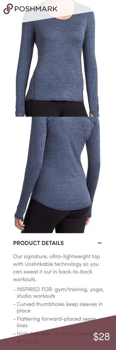 [SOLD OUT] Athleta Blue Shadow Stripe Chi Top XS Athleta Iron Blue Shadow Stripe Chi Top XS - Excellent used condition - Has no flaws - Has thumb holes on both sleeve - Super thin material, Great layering piece or can be worn as is Athleta Tops