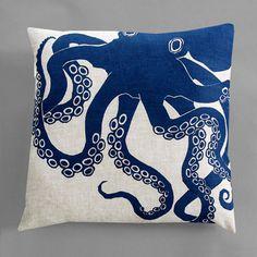 Dermond Peterson Octopus Indigo Pillow- Natural Linen - 11 Main