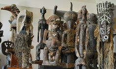 Snapshots of a tribal art collection of roughly 2000 objects of traditional art from Africa, tribal Asia, Oceania, and beyond -- in open storage. Masks, sta...