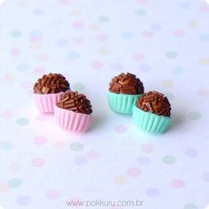 brincos mini mini brigadeiro - pino - pokkuru - doceria de bijoux