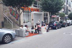 Parking Day 2012. Con esta acción se pretende reflexionar sobre la cantidad de espacio que necesita el automóvil para ser funcional. http://parkingday.org | EspacioNido