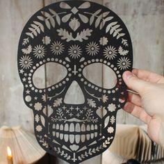 Mr Yen Designs - Laser and hand cut greetings and stationery. — Lasercut Dia De Los Muertos Skull